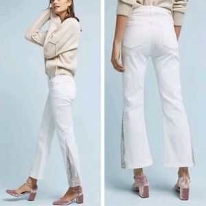 New Anthropologie Pilcro White Sequin Flare Jeans